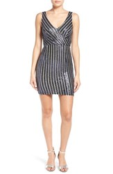 A. Drea Women's Stripe Sequin Body Con Dress