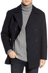 Michael Kors Men's Wool Blend Double Breasted Peacoat Officer Navy