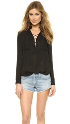 Haute Hippie Gypsy Lace Up Blouse Black
