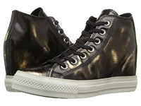 Converse Chuck Taylor All Star Lux Brush Off Leather Mid Black Metallic Gunmetal Black Women's Shoes Brown