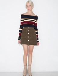 Pixie Market Khaki Corduroy Pocket Mini Skirt