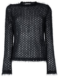 Carven Semi Sheer Open Knit Jumper Black