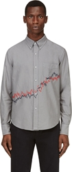 Band Of Outsiders Grey Oxford Graph Embroidered Shirt