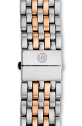 Michele 'Csx' 18Mm Two Tone Bracelet Watchband Silver Rose Gold
