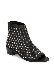 Loeffler Randall Studded Open Toe Leather Booties Black Silver