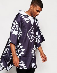 Jaded London Aztec Poncho Black