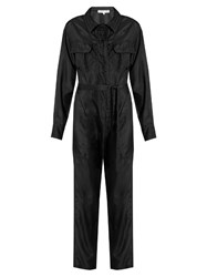 Katharine Hamnett At Ymc Long Sleeved Silk Satin Jumpsuit Black