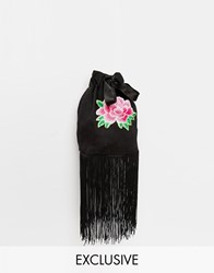 Reclaimed Vintage Embroidered Gypsy Rose Cross Body Bag Black