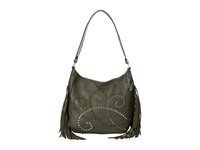 American West Dream Catcher Slouch Shoulder Bag Forest Green Fringe Shoulder Handbags Gray