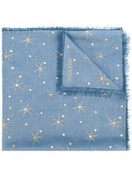 Valentino Embroidered Polka Dot Scarf Blue
