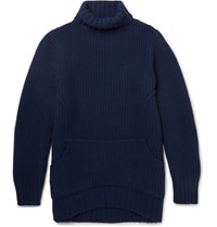 Chalayan Oversized Waffle Knit Wool And Cashmere Blend Rollneck Sweater Navy
