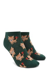 Forever 21 Bow Cat Ankle Socks Green Multi