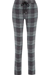 Markus Lupfer Checked Silk Track Pants Gray