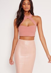 Missguided Choker Plunge Crop Top Pink Red