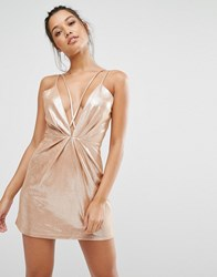 Missguided Strappy Foiled Suede Bodycon Dress Nude Beige