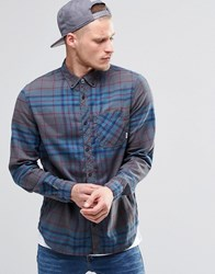 Element Buffalo Check Flannel Shirt Stone Grey Buttondown Grey