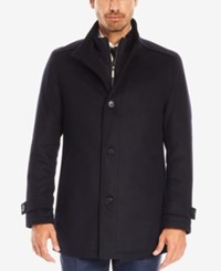Hugo Boss Men's Virgin Wool Cashmere Car Coat Darkblue