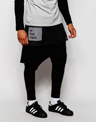 Asos Drop Crotch Meggings With Waffle And Mesh Design Black