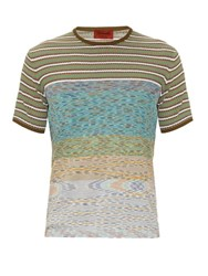 Missoni Striped Knit Cotton T Shirt Green Multi