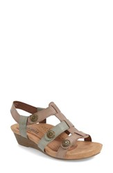 Women's Cobb Hill 'Harper' Wedge Sandal Khaki Leather