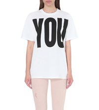 Katherine E Hamnet At Ymc You Me Cotton Jersey T Shirt White W Black Print