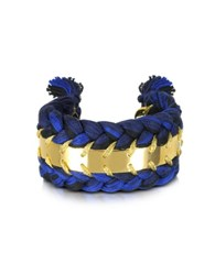 Aurelie Bidermann Copacabana Navy And Black Cotton Double Bracelet Navy Blue