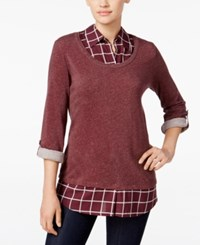 Styleandco. Style Co. Plaid Layered Look Sweater Only At Macy's Simple Plaid Plum