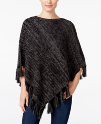 Styleandco. Style Co. Boat Neck Fringe Poncho Only At Macy's Black Grey Heather