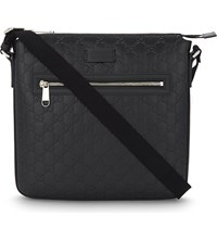 Gucci Gg Leather Messenger Bag Black