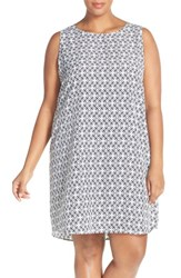Halogen Plus Size Women's Sleeveless Shift Dress Grey Teal Tile Print