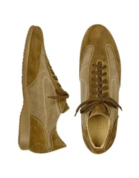 Mariano Napoli Light Brown Canvas And Suede Sneaker Lace Up Shoes