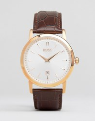 Hugo Boss Slim Ultra Round Leather Watch In Brown Brown