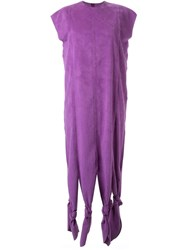 G.V.G.V. Knot Detail Faux Suede Dress Pink And Purple