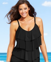 Kenneth Cole Reaction Plus Size Tiered Ruffle Tankini Top Women's Swimsuit Black