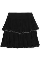Isabel Marant Waida Tiered Silk Chiffon Mini Skirt Black