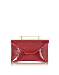 M2malletier Annabelle Lipstick Red Patent Leather Clutch W Chain