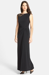 Lace Inset Twist Front Jersey Gown Black