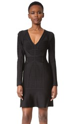 Herve Leger Luci V Neck Dress Black