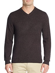 Saks Fifth Avenue Cashmere V Neck Sweater Coffee