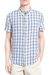 Men's Lucky Brand 'Ballona' Short Sleeve Plaid Linen Shirt