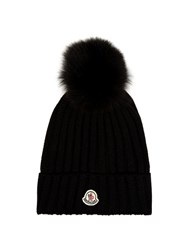 Moncler Fur Pompom Ribbed Knit Hat Black