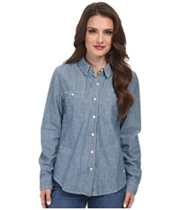Dockers Petite Spring Chambray Shirt Medium Wash Women's Long Sleeve Button Up Navy
