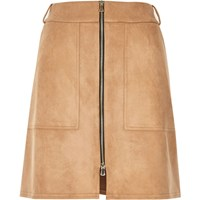 River Island Womens Beige Faux Suede Zip Up A Line Skirt
