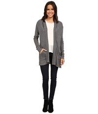 Allen Allen Hooded Open Cardigan Heather Grey Women's Sweater Gray