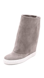 Casadei Suede Fold Over Boots Grey