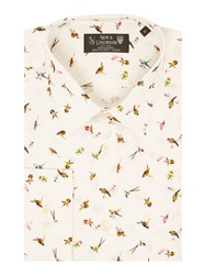 New And Lingwood Edgware Bird Print Shirt White