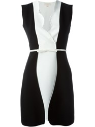 Giambattista Valli Scalloped Collar Fitted Dress Black