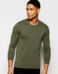 Armani Jeans Jumper With Crew Neck And Logo Green