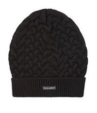Dolce And Gabbana Cable Knit Beanie Hat Black