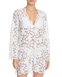 J. Valdi Floral Lace Tunic Cover Up White